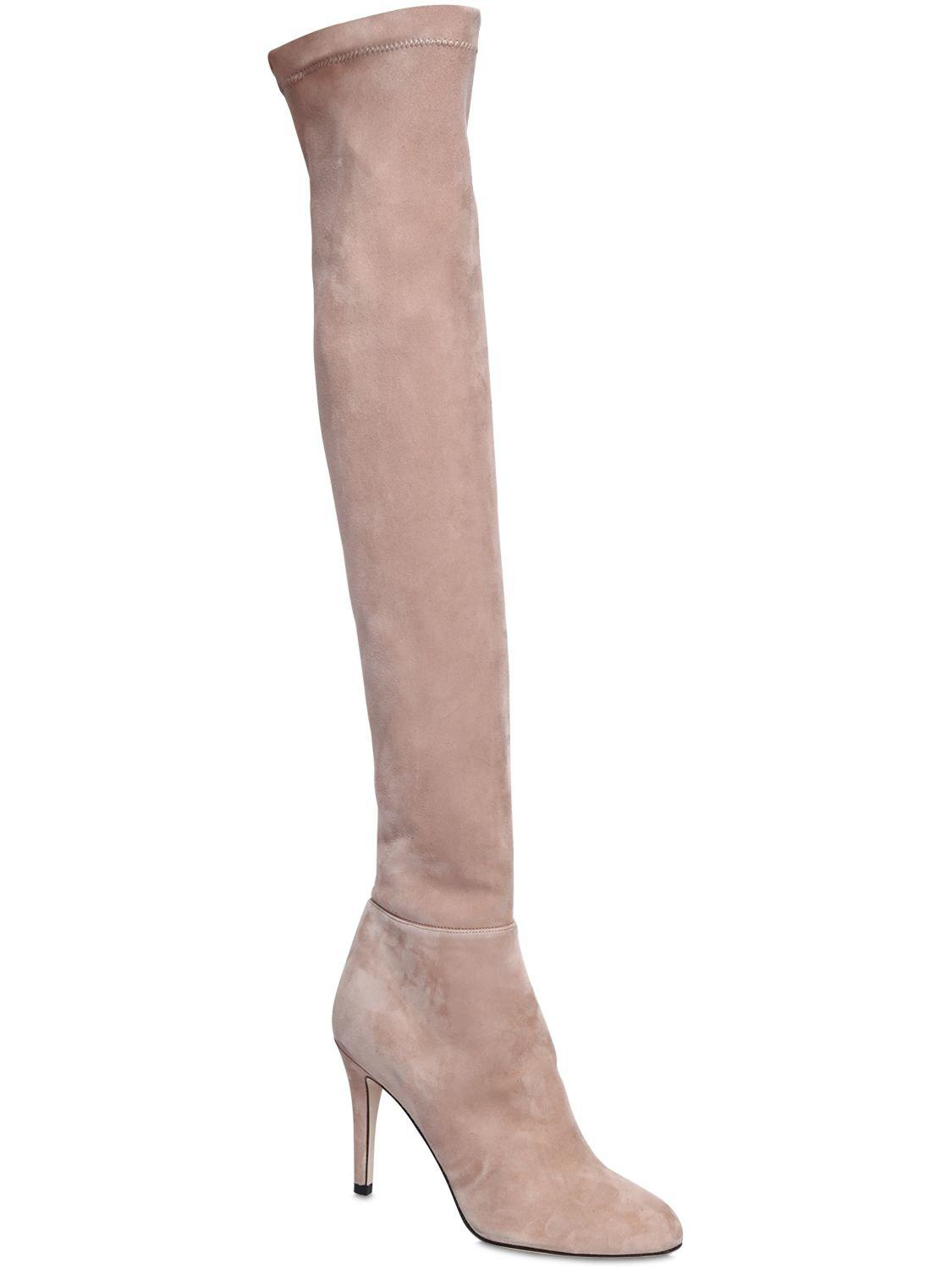 2f9927b438c Lyst - Jimmy Choo 90mm Toni Suede Over The Knee Boots in Natural
