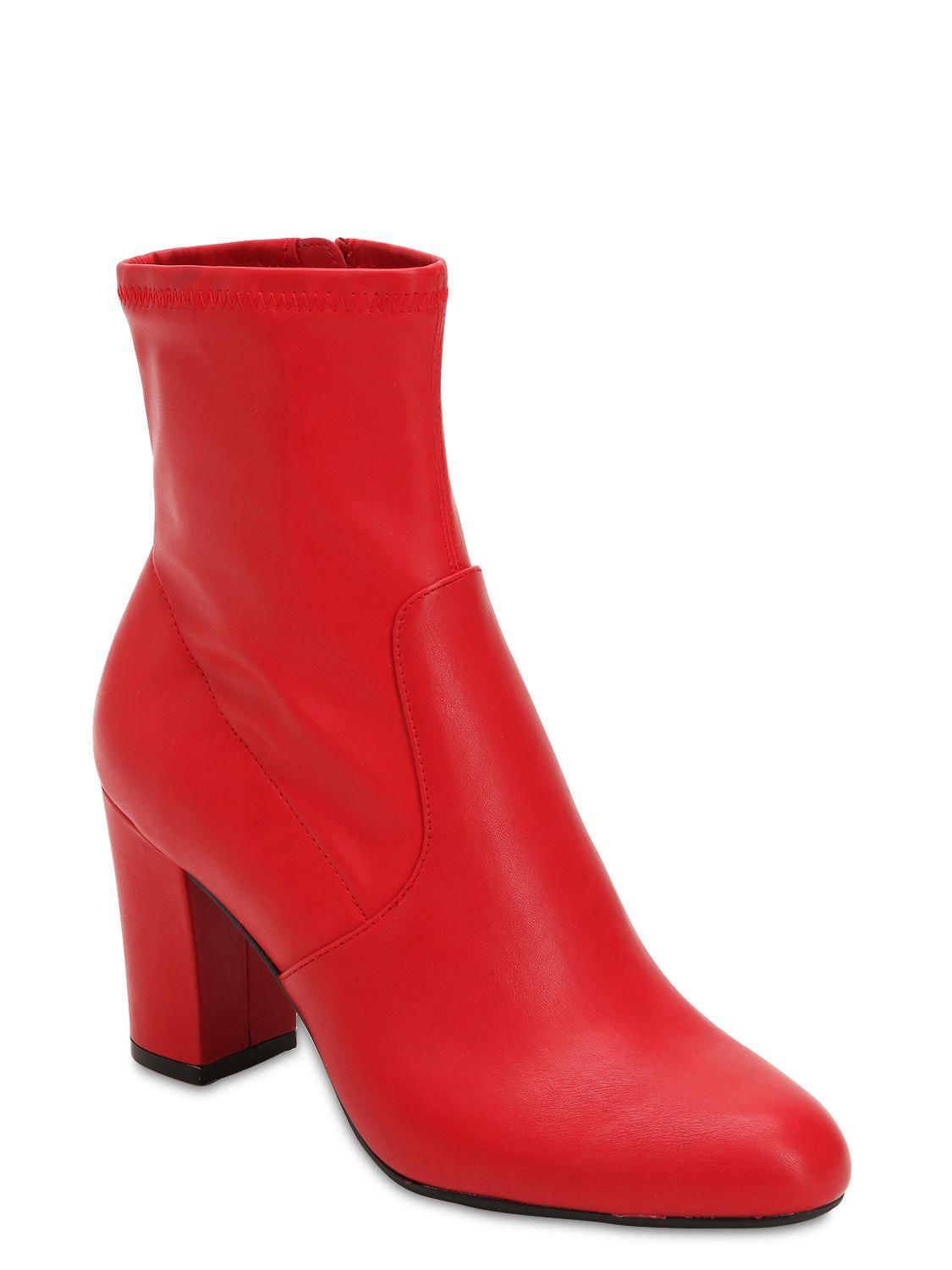 e6a960f10 Steve Madden 90mm Actual Faux Leather Boots in Red - Lyst