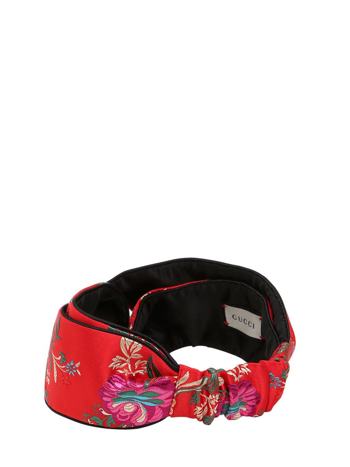 8618abe8058 Lyst - Gucci Tokyo Printed Silk Knot Headband in Red