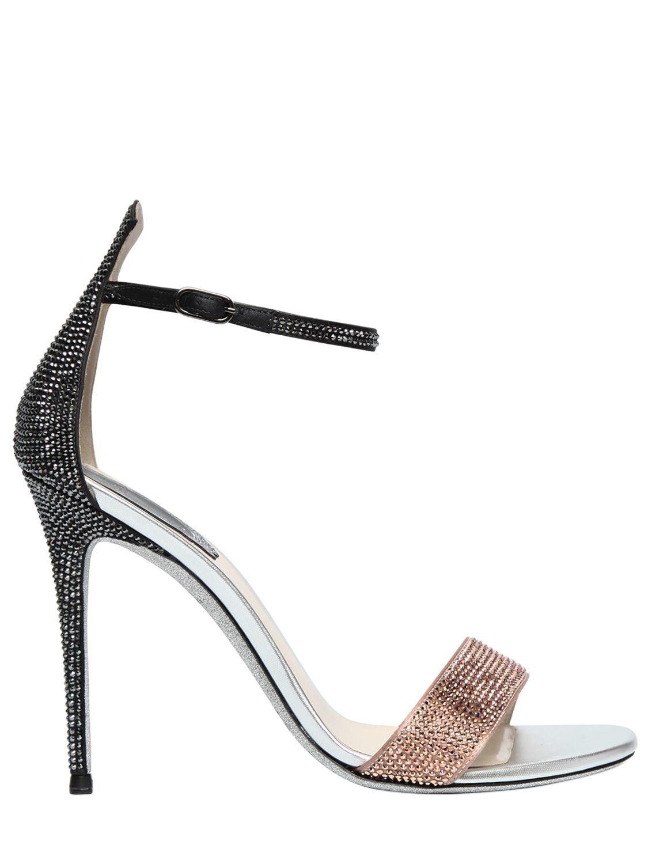 RENé CAOVILLA Crystal-Embellished Satin Strappy Sandals XObVBQUU