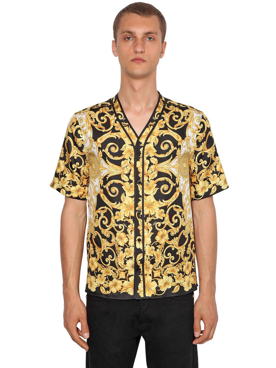 d0748eff Versace Heritage Hibiscus Silk Bowling Shirt in Metallic for Men - Lyst