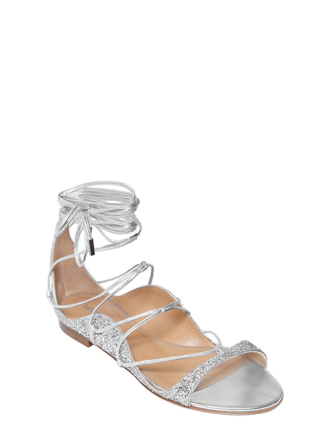 Dsquared2 10MM GLITTERED LACE-UP SANDALS C9zdYCO