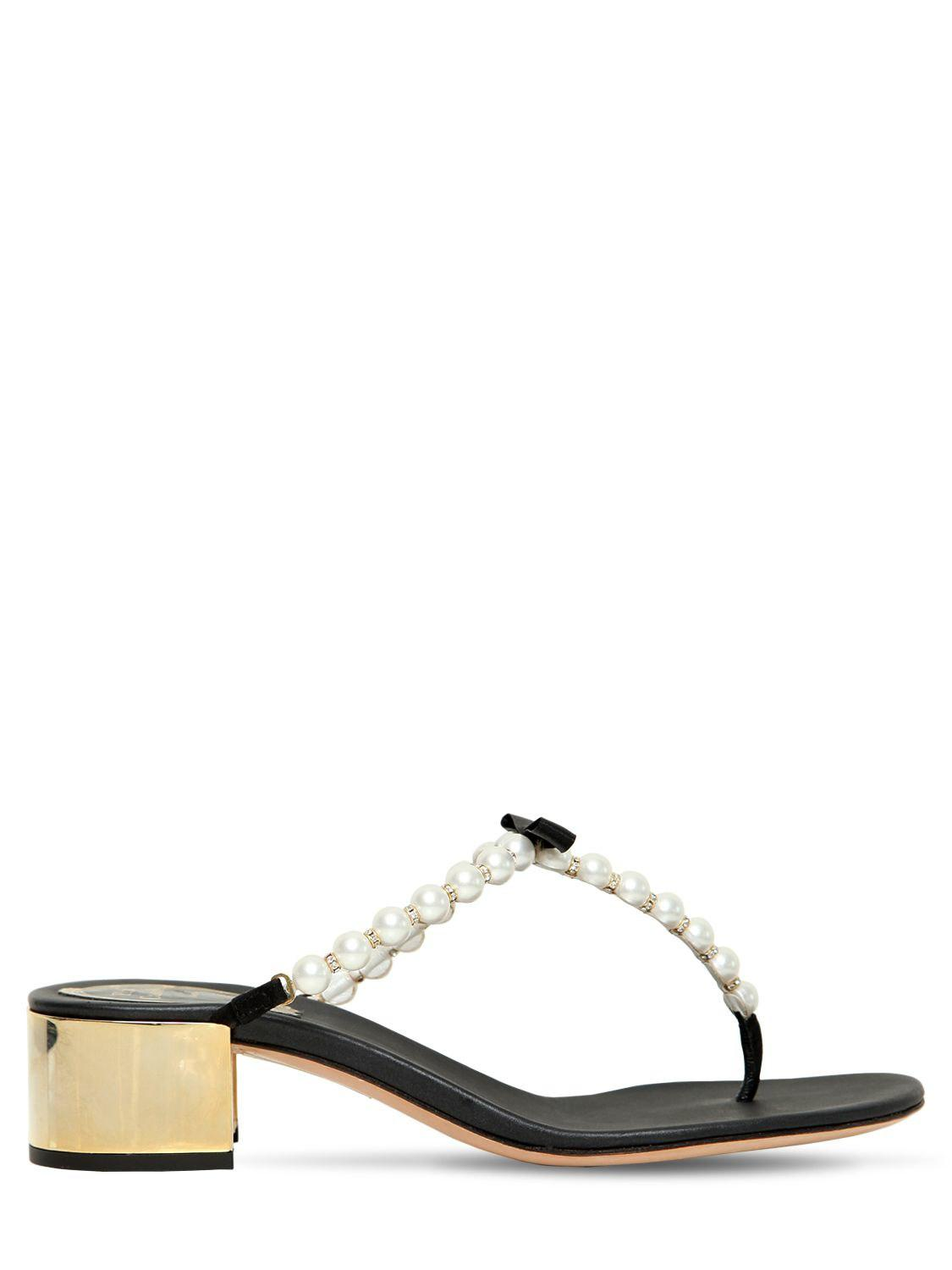 c1289754d Rene Caovilla 40mm Swarovski Imitation Pearl Sandals in Black - Save ...