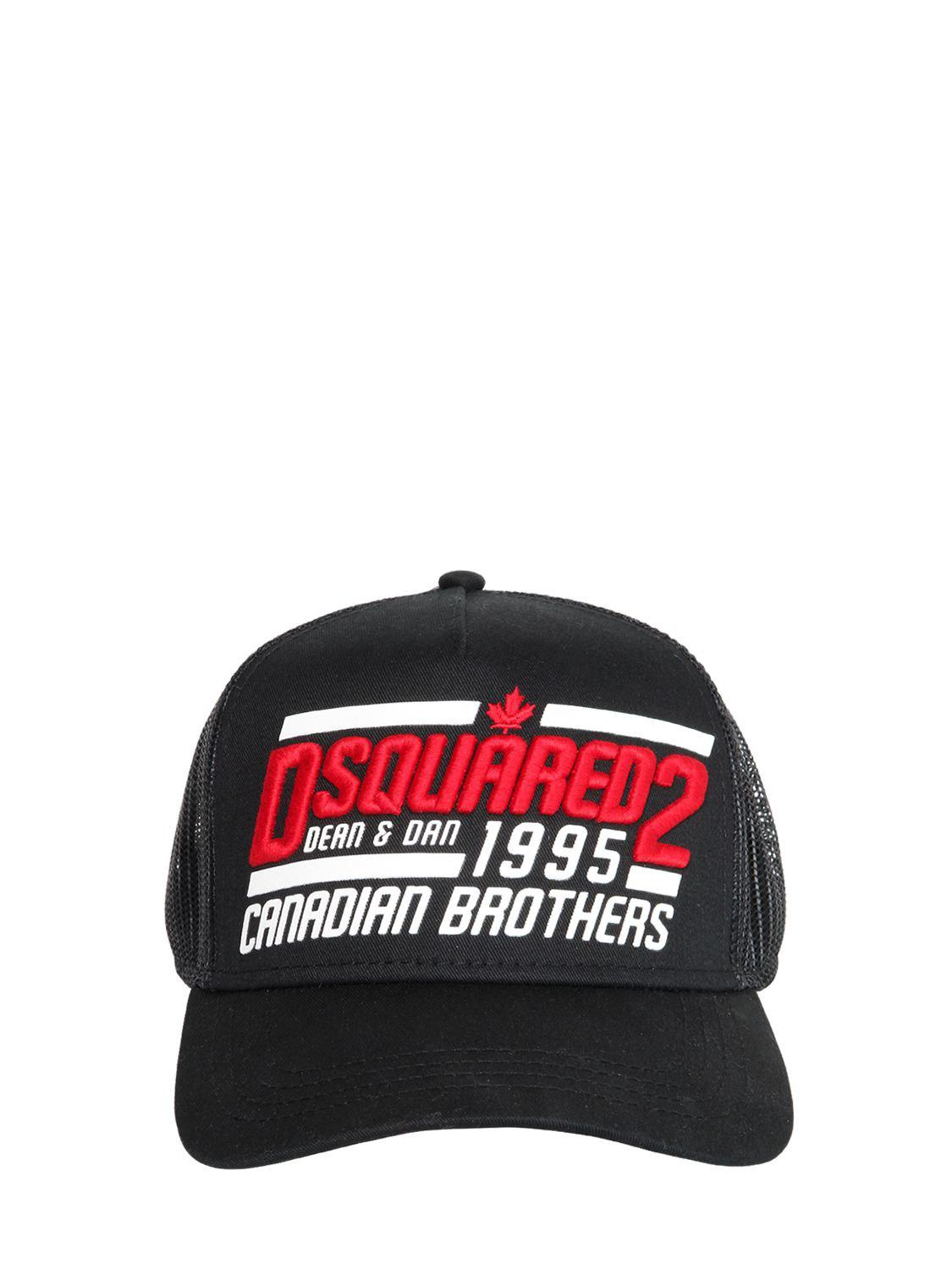 Dsquared² 1995 Brothers Canvas   Mesh Trucker Hat in Black for Men ... 91ab73a1554c