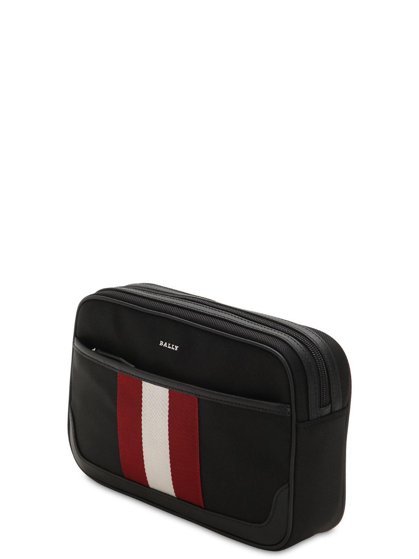 f1edde43681 Lyst - Bally Logo Stripe Tech Canvas Toiletry Bag in Black for Men