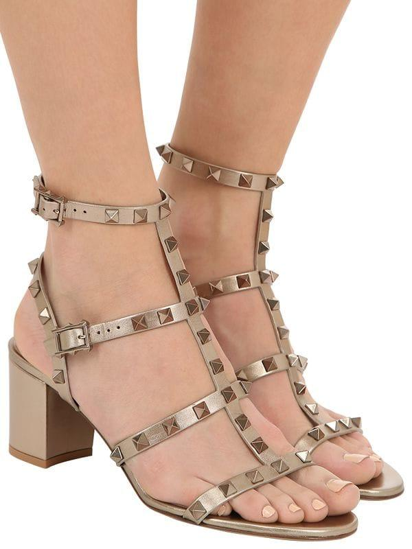e80e84cb3c8 Valentino - 60mm Rockstud Metallic Leather Sandals - Lyst. View fullscreen