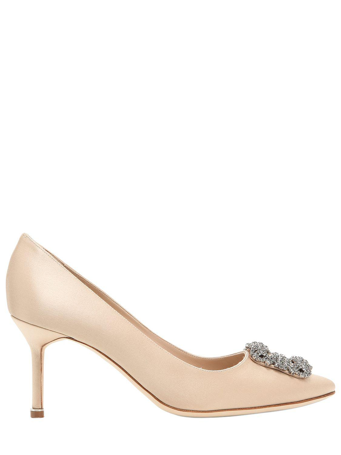 Manolo Blahnik. Women's 70mm Hangisi Swarovski Silk Satin Pumps