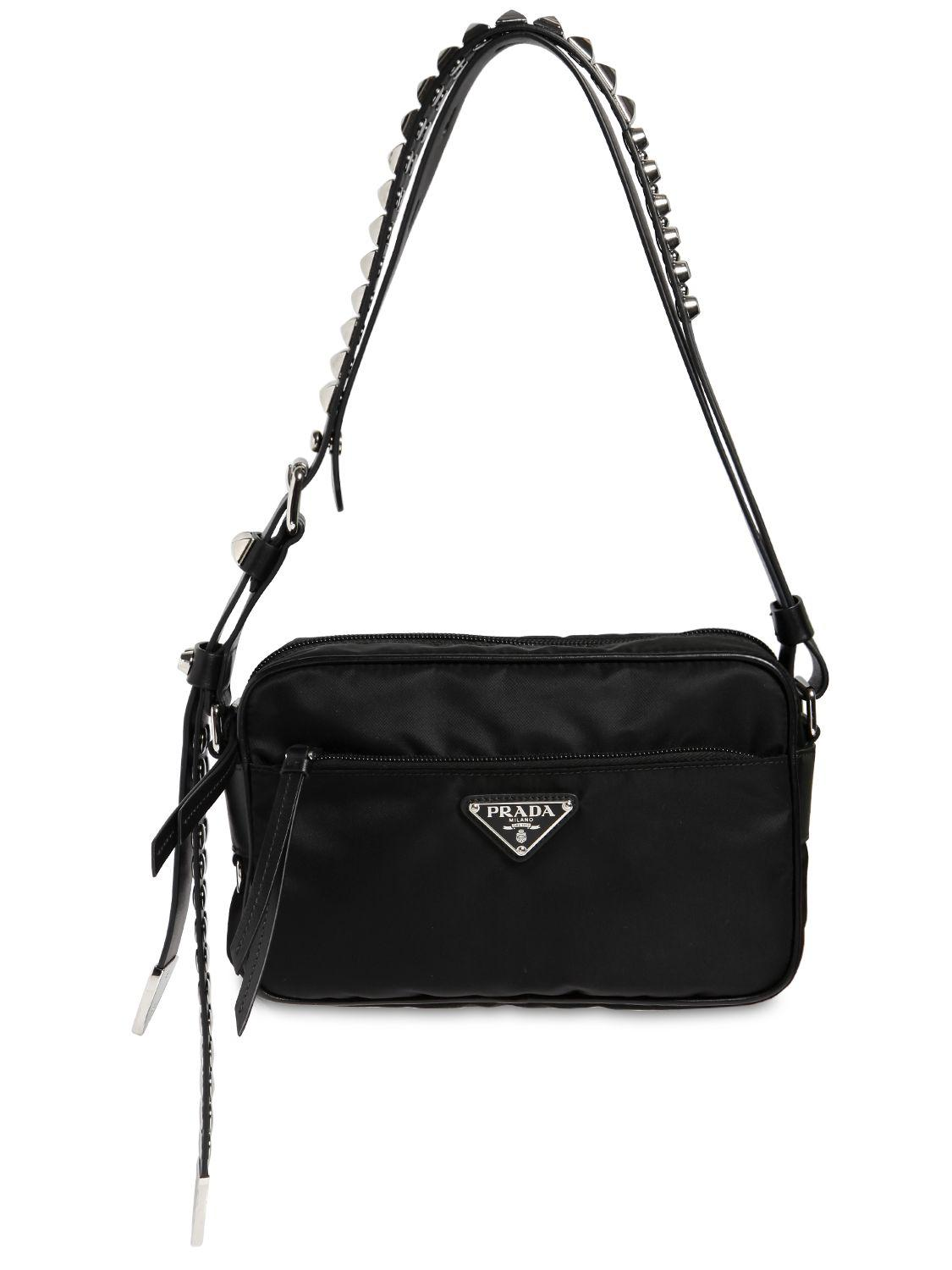 25cdcef2d28a ... low price prada black nylon camera bag w studded strap lyst. view  fullscreen 3f046 23938