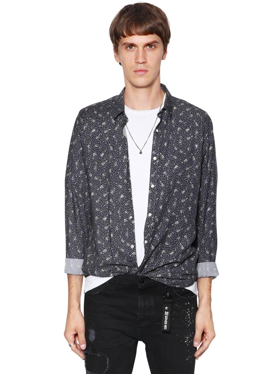 35868e2c303 The Kooples Guitars Printed Fluid Viscose Shirt in Blue for Men - Lyst