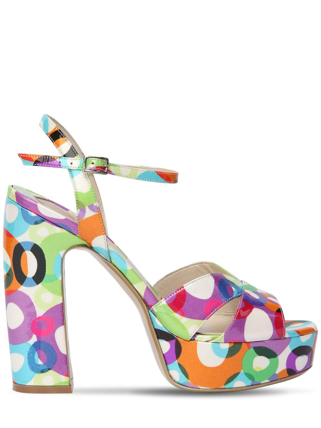 Ernesto Esposito 125MM PRINTED PATENT LEATHER SANDALS