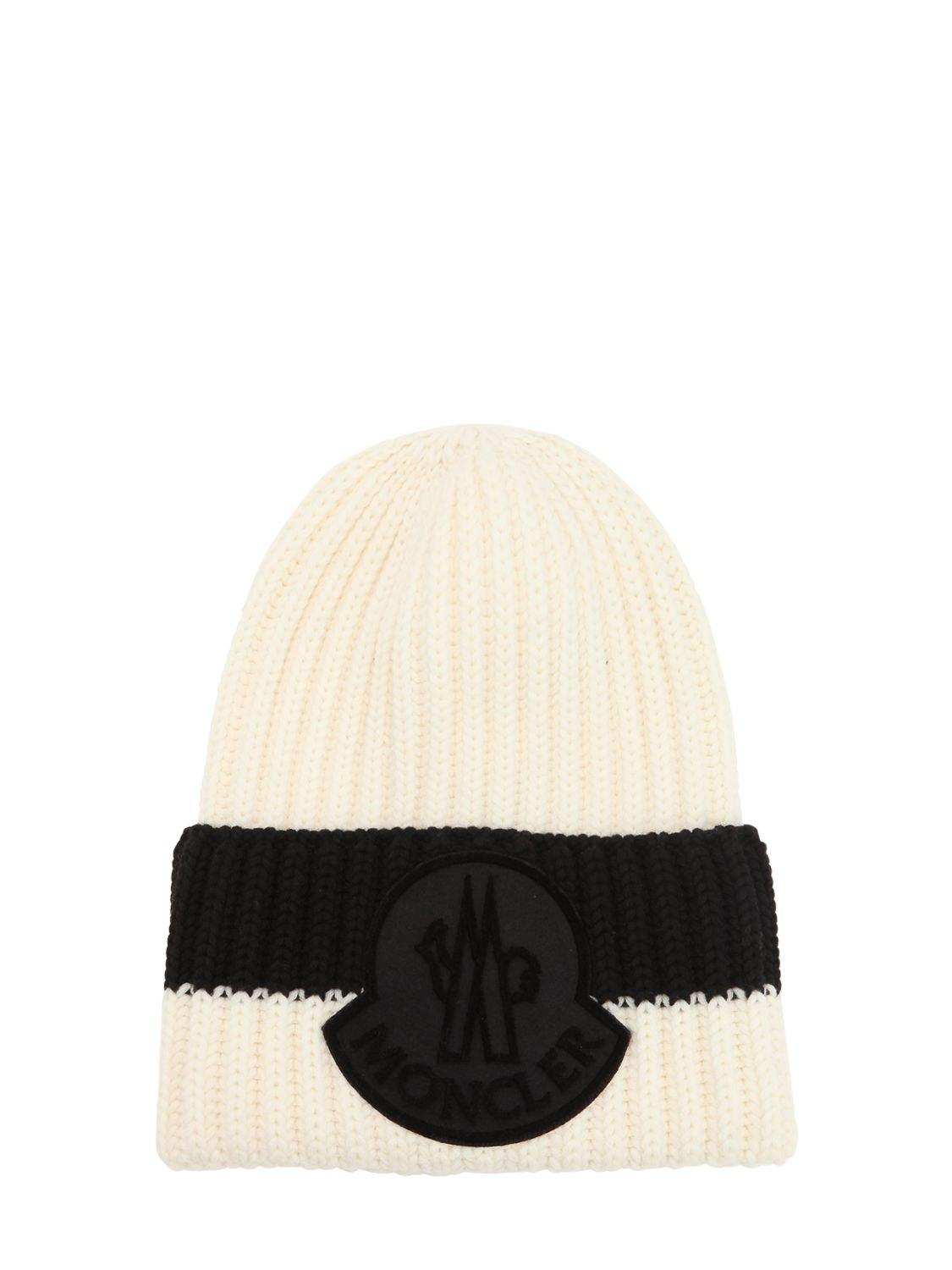 3a853e5af92 Lyst - Moncler Logo Wool Rib Knit Beanie Hat in Black for Men
