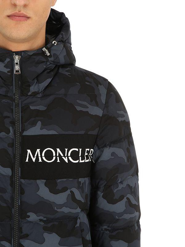 0a3b09bad841 Lyst - Moncler Aiton Camo Nylon Down Jacket in Black for Men