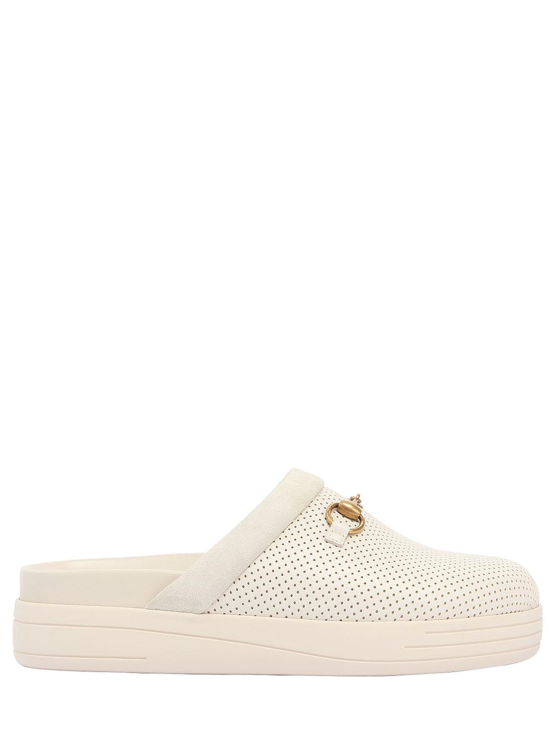 Lyst - Gucci Maiorca Perforated Nubuck Mules in White for Men