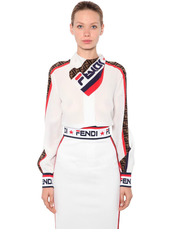 5997fbda27f1 Lyst - Fendi Mania Printed Crepe De Chine Shirt in White