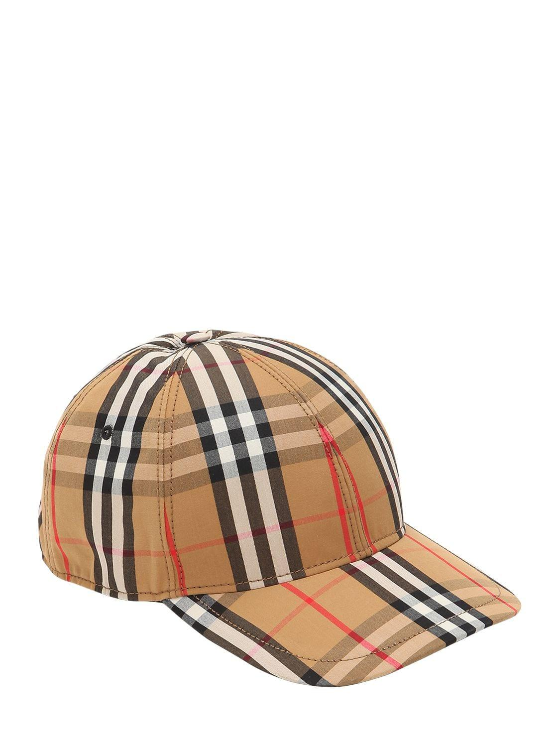 f67dc54f Burberry Vintage Check Cotton Baseball Cap in Natural - Lyst