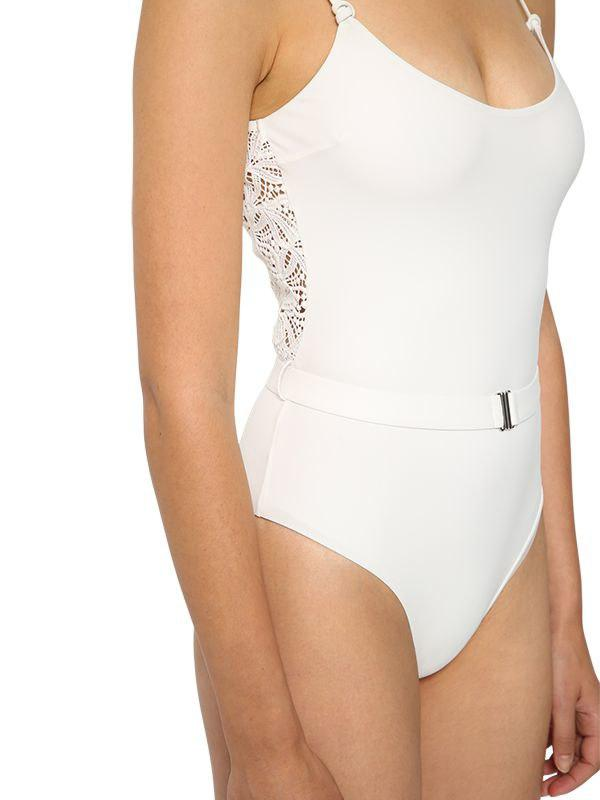 676c5b34ba88 Ermanno Scervino Lycra & Lace One Piece Swimsuit in White - Lyst