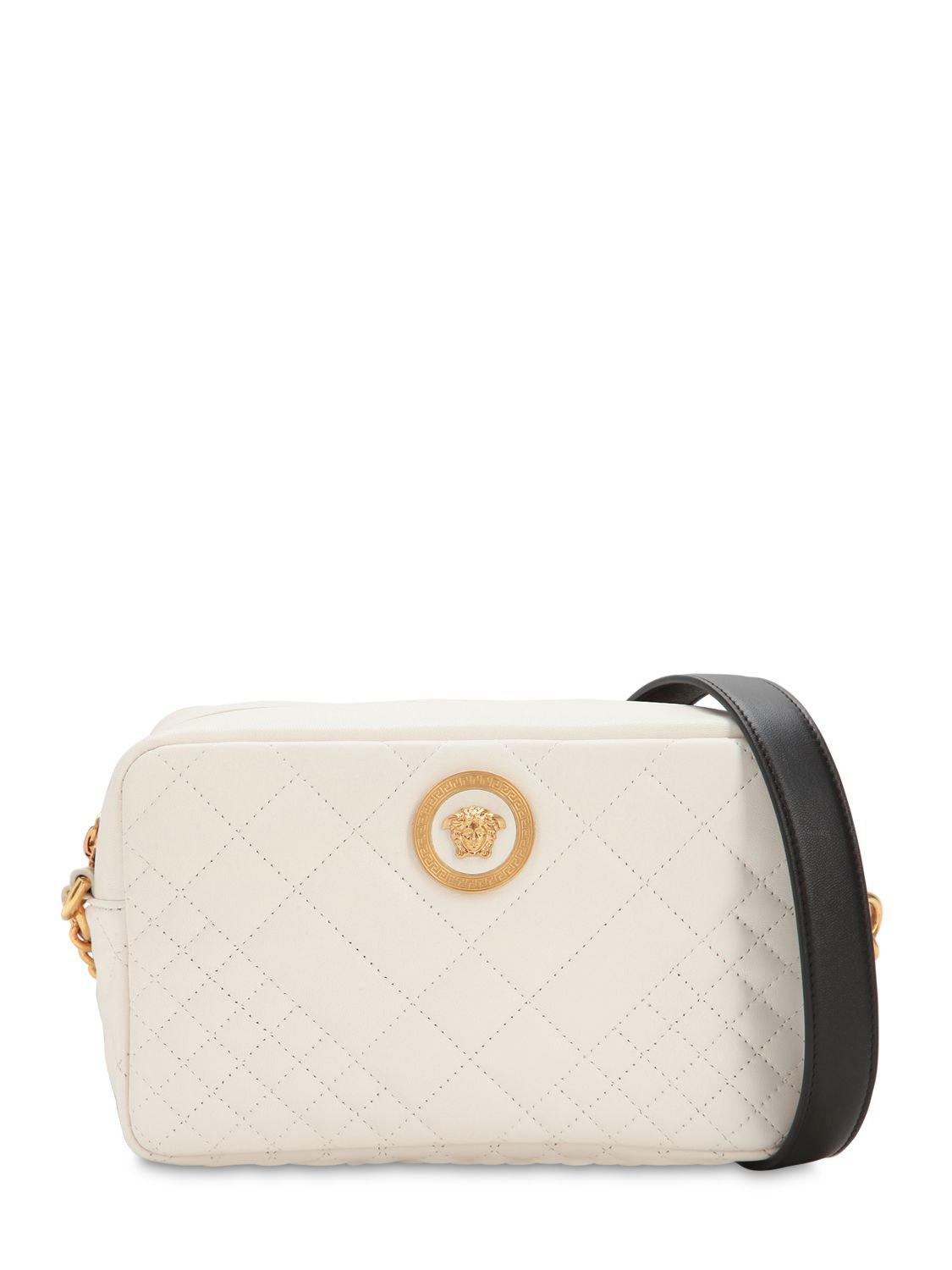 6ccfc41406 Versace Icon Medium Quilted Leather Camera Bag in White - Lyst