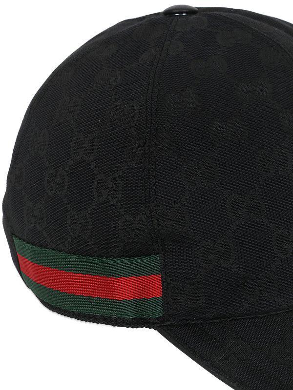 3fa357fc010 Lyst Gucci Gg Supreme Logo Canvas Baseball Hat In Black For Men