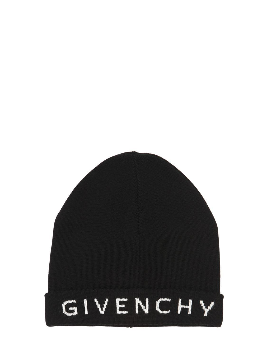 d84add282a5 Lyst - Givenchy Logo Print Wool Beanie Hat in Black - Save ...