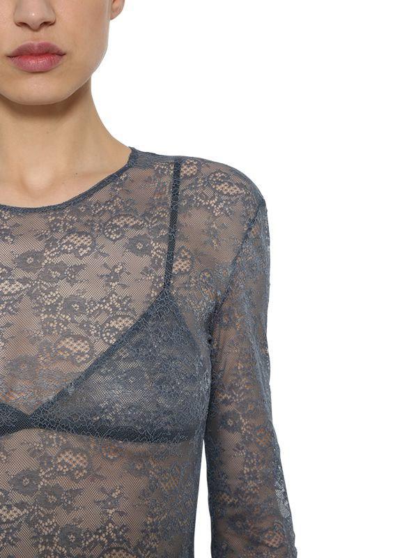 69b037a092 Nina Ricci - Gray Lace Stretch Sheer Bodysuit - Lyst. View fullscreen