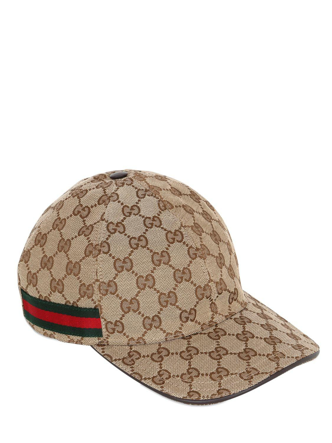 acf8c6b3ac6 Gucci Gg Supreme Logo Canvas Baseball Hat in Natural for Men - Save ...