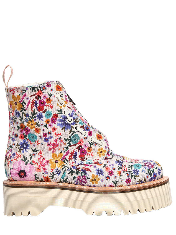 5907b36551c0 Lyst - Dr. Martens 40mm Sinclair Floral Print Cotton Boots .