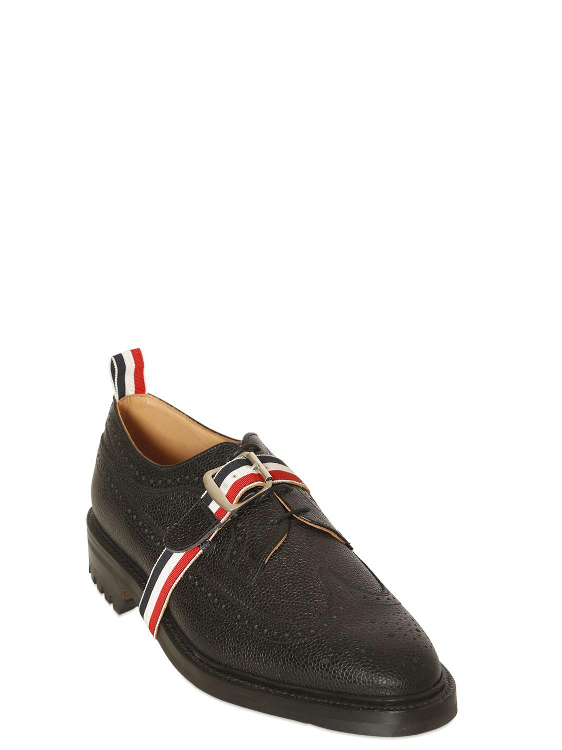 Thom Browne BELTED PEBBLE LEATHER DERBY SHOES yAfykue