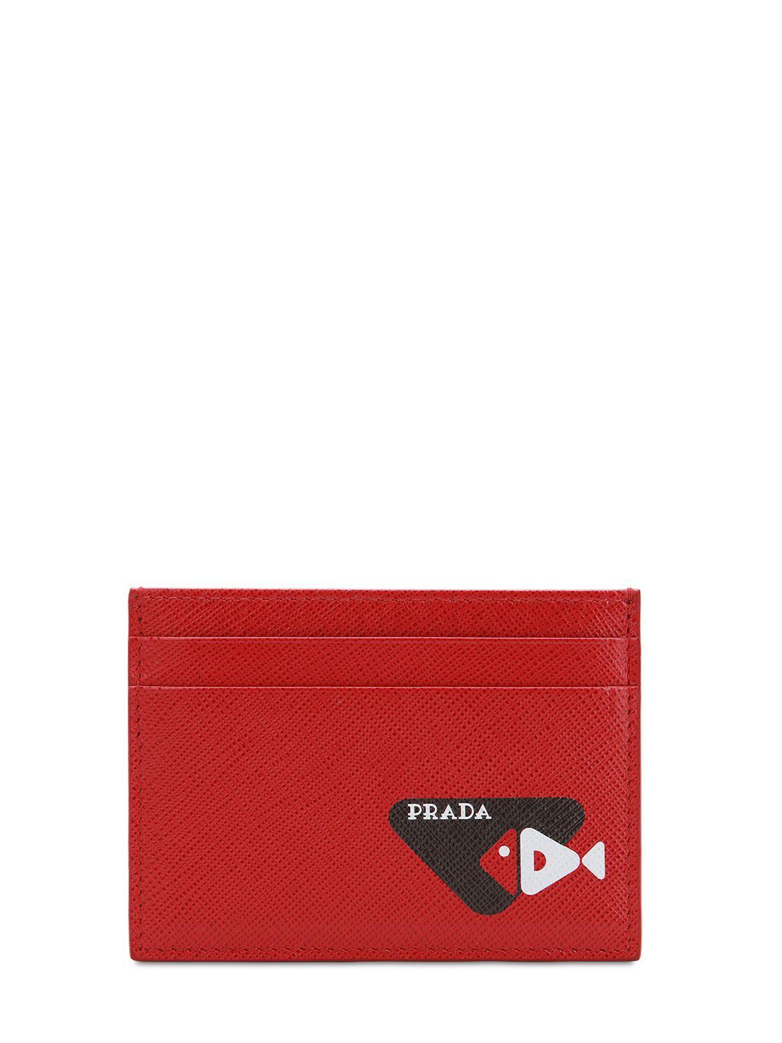 4313801a8d9f Prada - Red Printed Saffiano Leather Card Holder for Men - Lyst. View  fullscreen