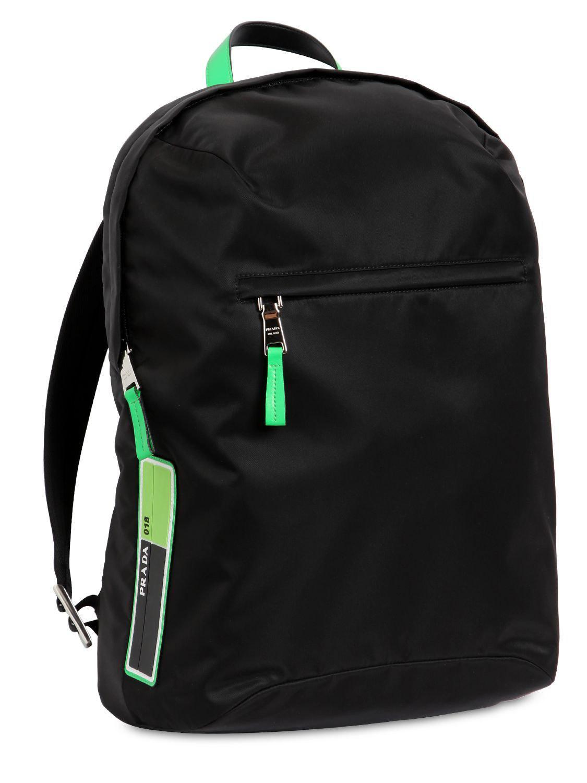 8974afcc4dd0 Prada Logo Patch Nylon & Leather Backpack in Black for Men - Lyst