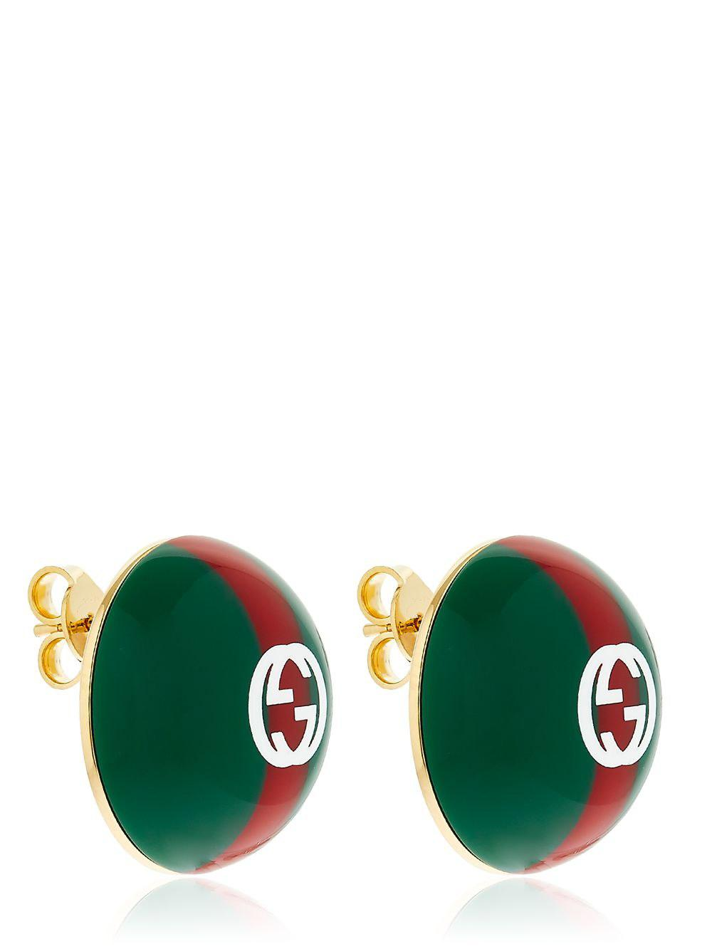 14e6732626f Lyst - Gucci Vintage Web   Logo Earrings in Green