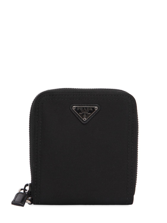 321558b8f76c9c Prada Nylon Zip Around Wallet in Black - Lyst