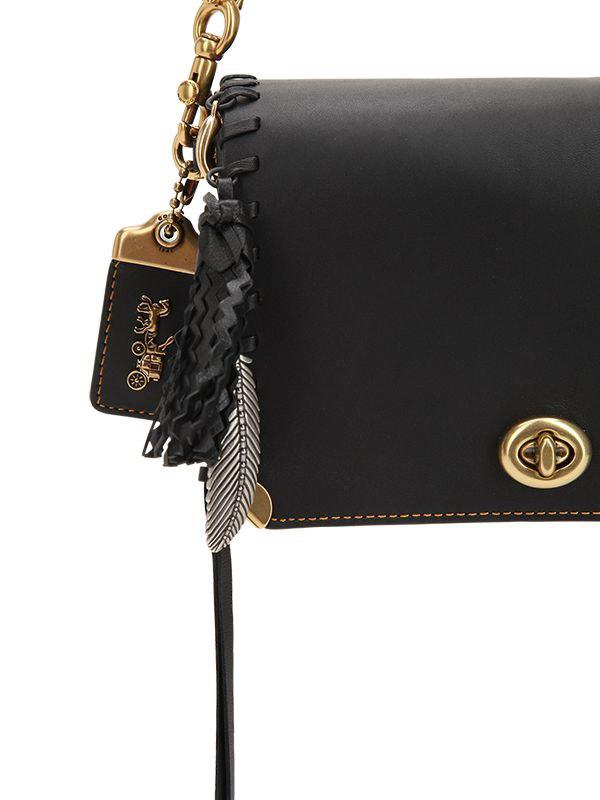 5d65c905 COACH Charms Leather Bag W/ Logo Chain in Black - Lyst