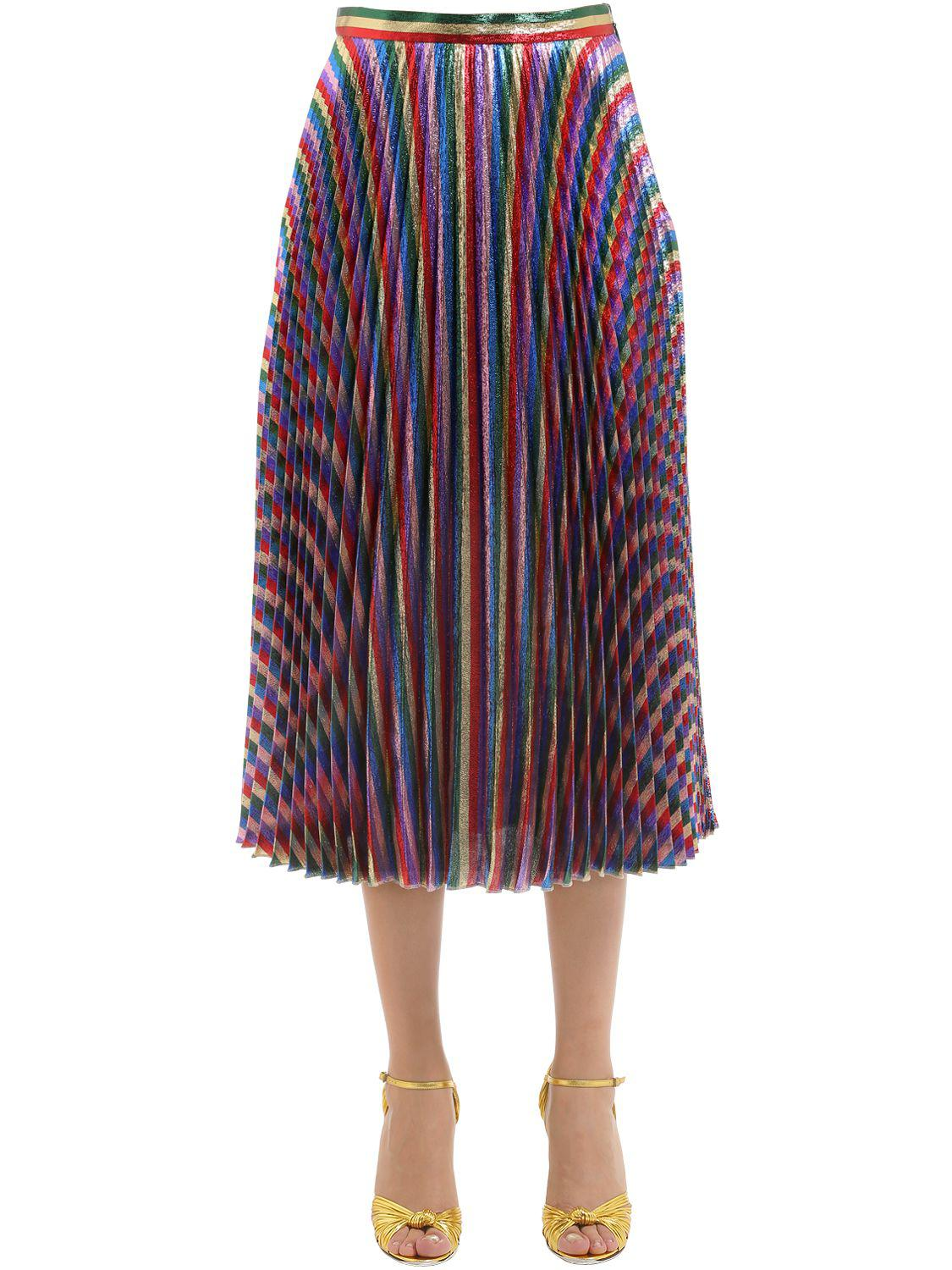 Gucci. Women's Rainbow Lurex Plisse Midi Skirt