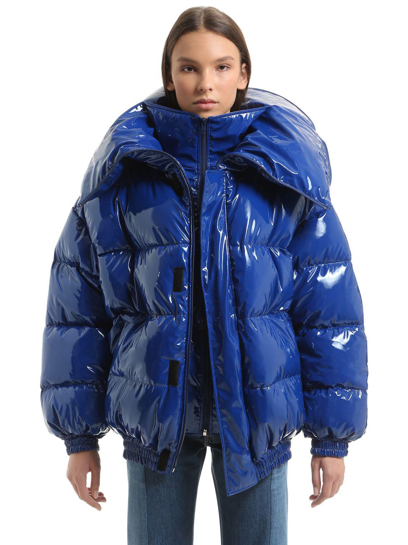 Vetements Oversized Shiny Nylon Puffer Jacket In Blue Lyst