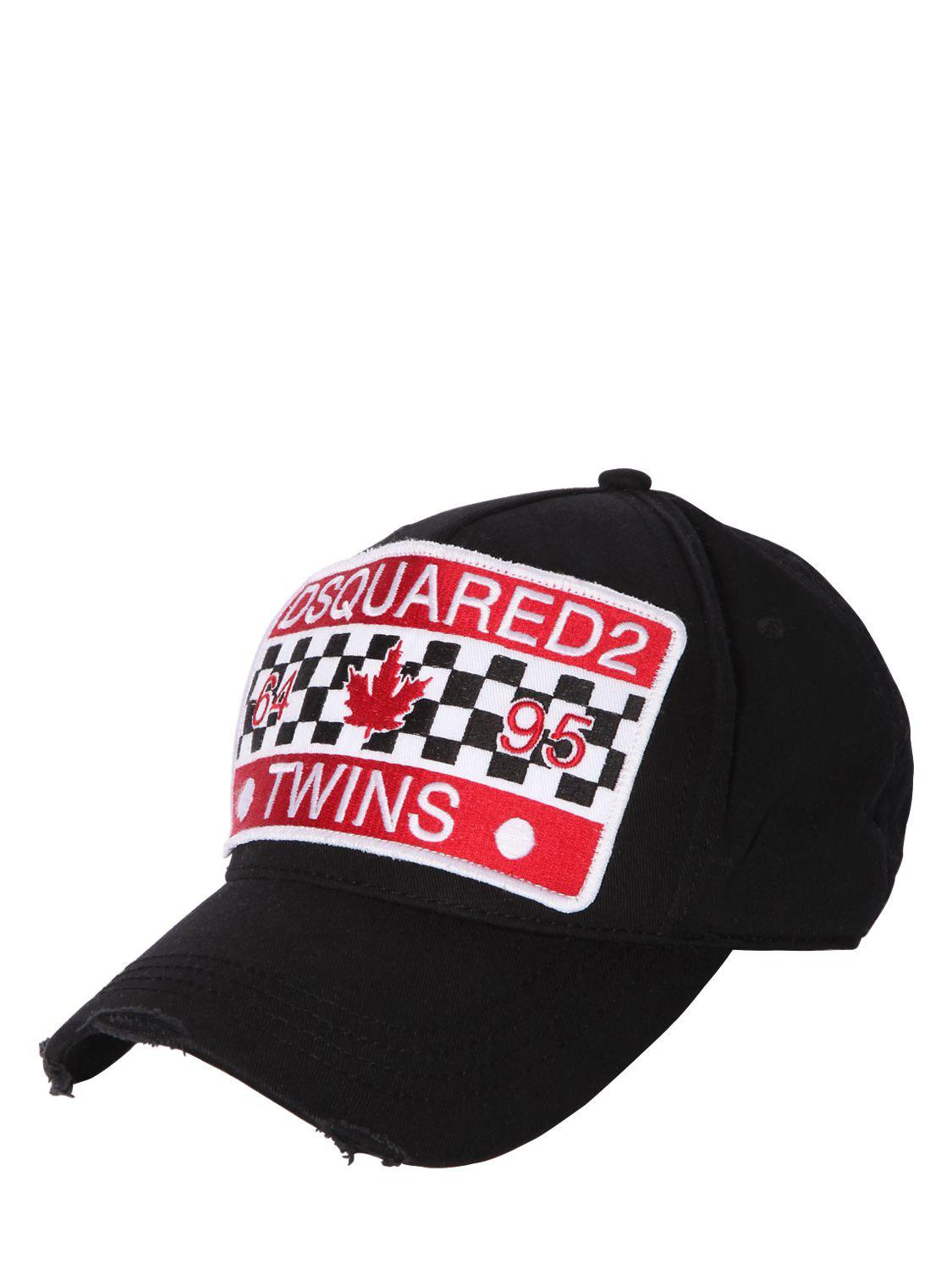 Dsquared² Twins Patch Canvas Baseball Cap in Black for Men - Lyst 2e234bb14b0