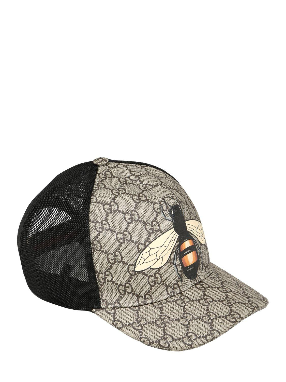22eee7eccf3 Gucci Bee Coated Gg Canvas   Mesh Baseball Hat in Black for Men - Lyst