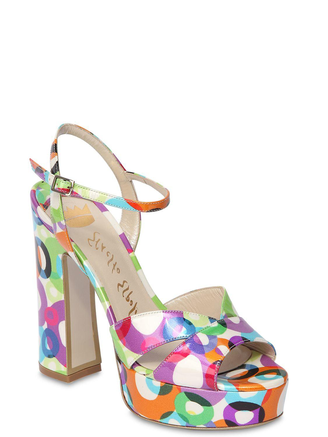 Ernesto Esposito 125MM PRINTED PATENT LEATHER SANDALS e9ZDii6o