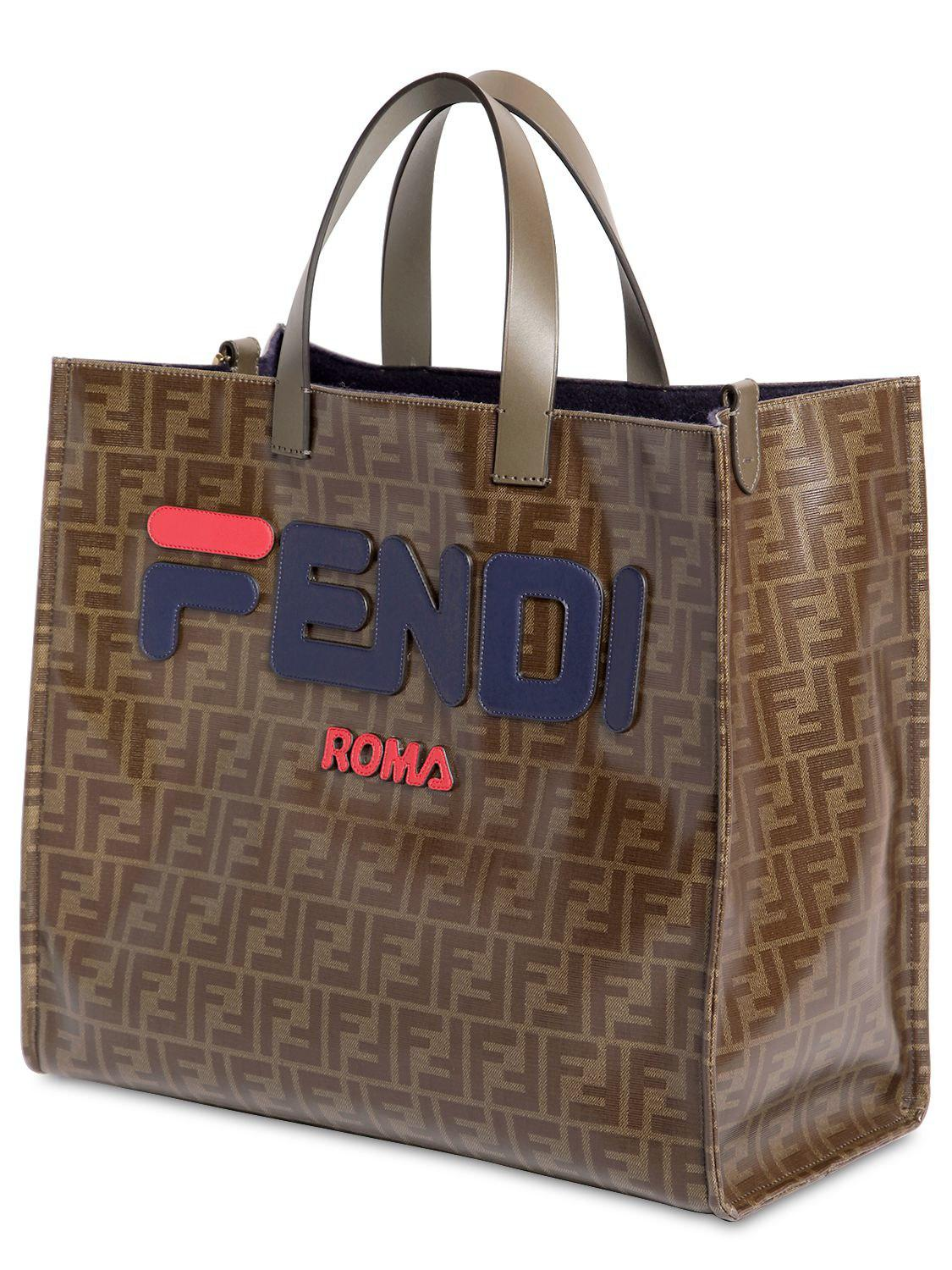 2e00fc857e Fendi - Brown Mania Small Coated Canvas Tote Bag - Lyst. View fullscreen