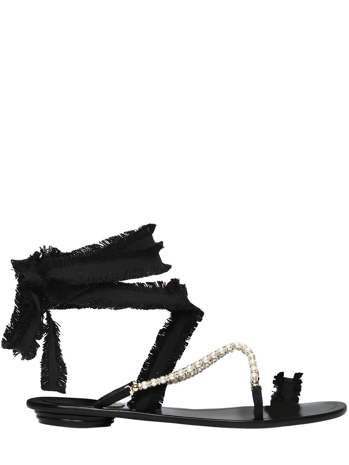 908586547 Lyst - Rene Caovilla 10mm Swarovski   Grosgrain Sandals in Black