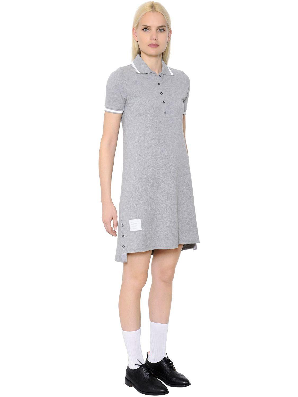 Outlet Purchase Geniue Stockist Sale Online Striped Cotton Pique Polo Dress - Grey Thom Browne Cheap Sale Latest Collections Sale Get Authentic Cheap Sale Authentic TDEq8AJ