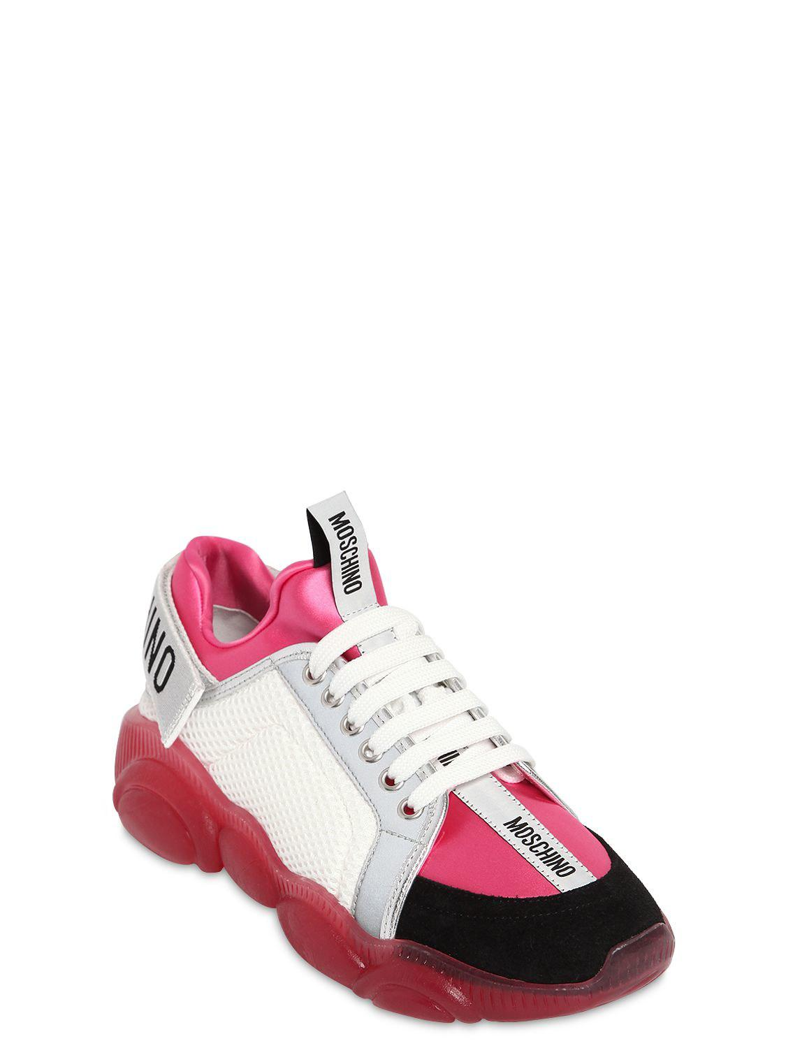 02aad3e2e7d65 Moschino White Mesh And Pink Neoprene Teddy Bear Sneakers in White - Save  1% - Lyst
