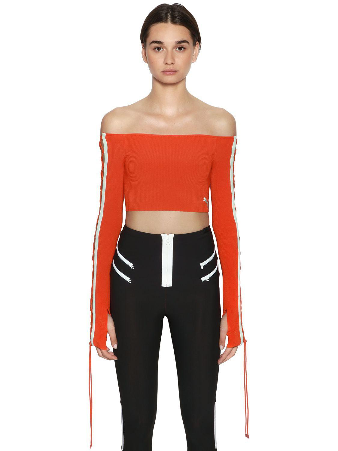 Lyst - PUMA Lace-up Rib Knit Cropped Top in Orange 3d595d995091d