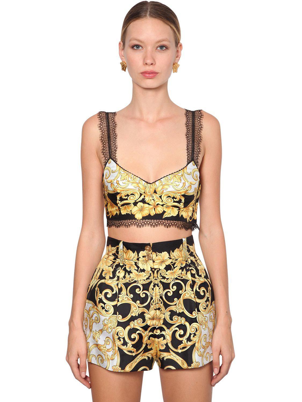 17331735f9 Lyst - Versace Printed Silk Twill Crop Top