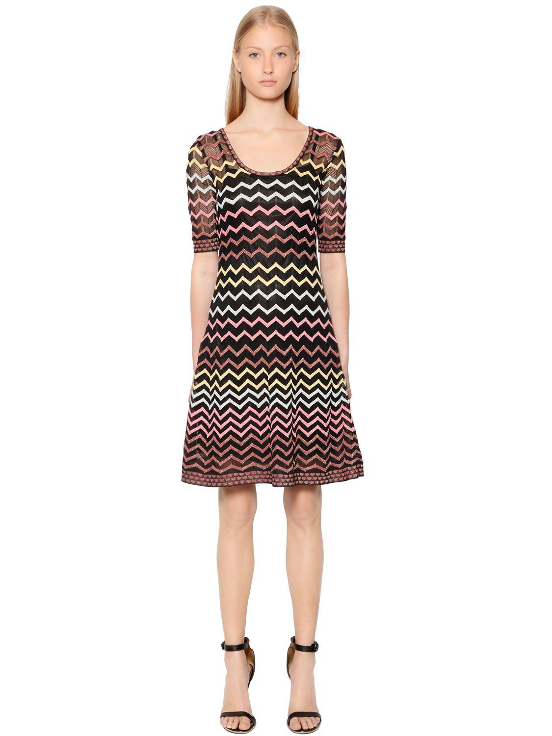 5d9d30a6a1f3 Lyst - M Missoni Zigzag Lurex Knit Dress in Black