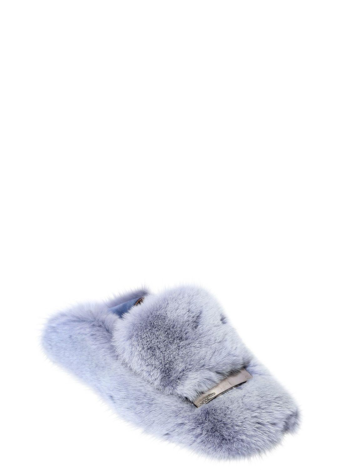 Slip On Shoes A77990 rabbit fur Metal buckle light blue Sergio Rossi gkJHW