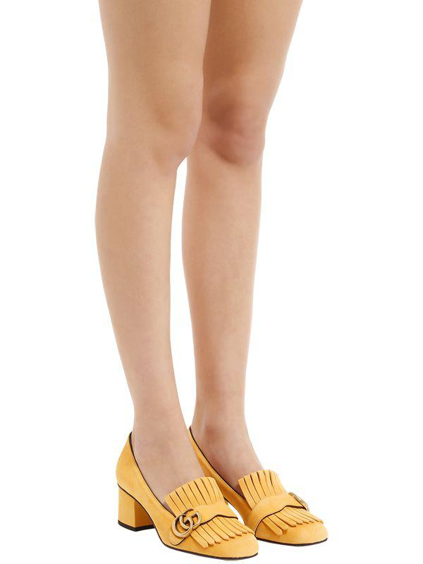 c07853efa Gucci 55mm Marmont Fringed Suede Pumps in Yellow - Lyst
