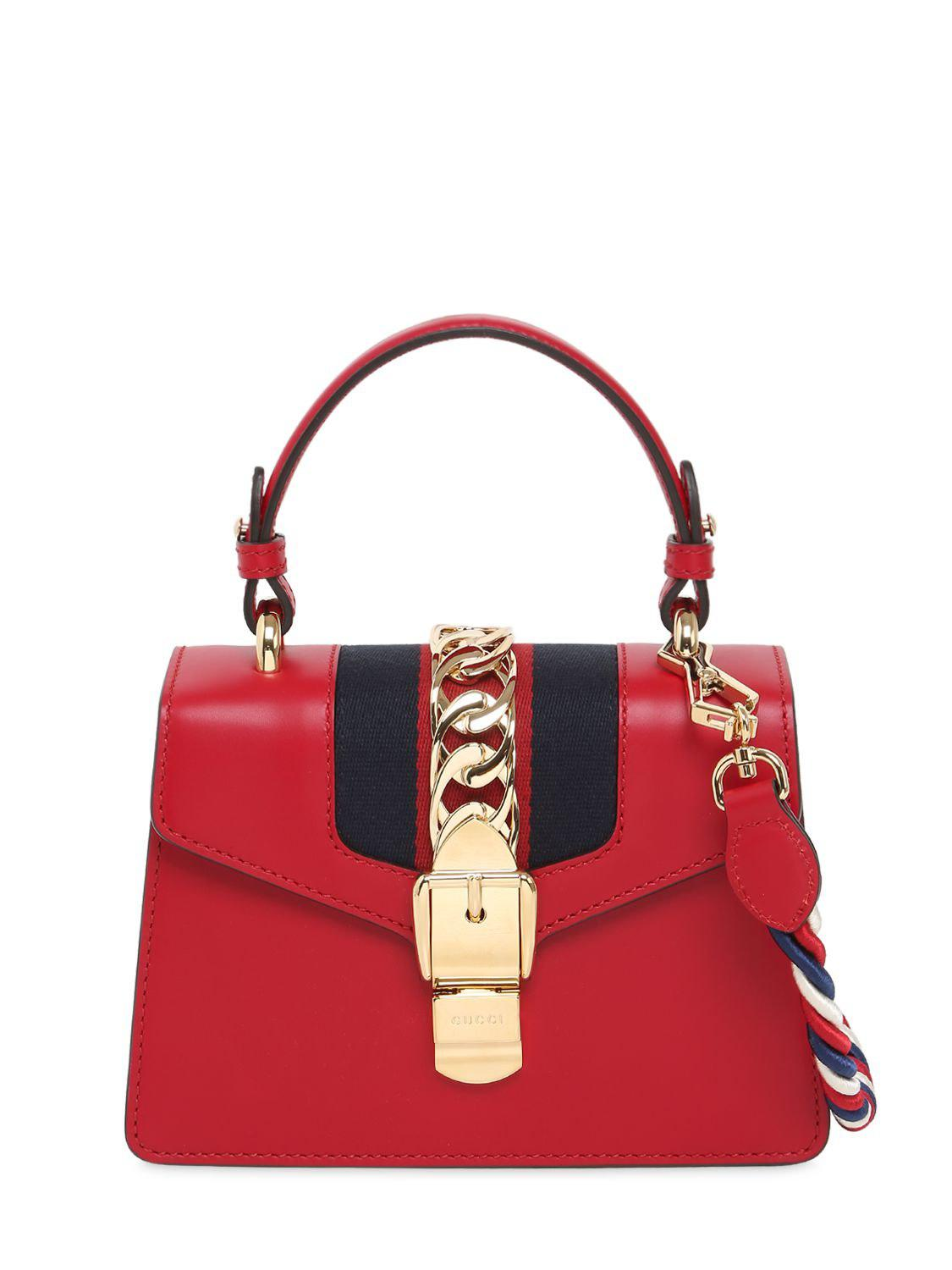 d1e5d1e6c25 Gucci Mini Sylvie Leather Shoulder Bag in Red - Save 15% - Lyst