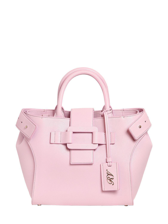 239b156b70 Roger Vivier Small Pilgrim De Jour Leather Bag in Pink - Lyst