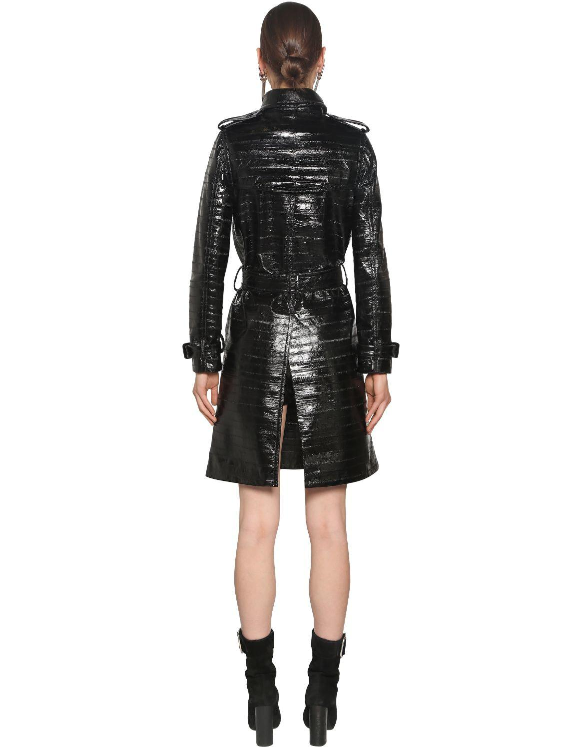 a539549958a Saint Laurent Eel Leather Trench Coat in Black - Lyst
