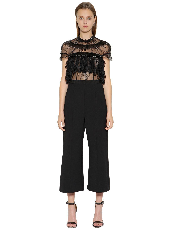 6b777155c3d Lyst - Self-Portrait Fine Lace Wide-leg Jumpsuit in Black